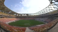 Panning Fisheye Lens Shot construction at Arena Da Amazonia in Manaus Brazil continues A strike over safety conditions following a fatal accident has...