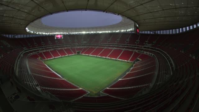 Panning Fisheye Lens Shot general view of Mane Garrincha National Stadium In Brasilia Brazil on December 9th 2014 NO