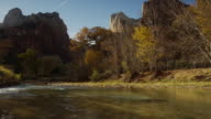 Panning medium shot of mountains in Zion National Park / Zion National Park, Utah, United States,