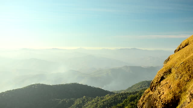 panning: mountain range and dangerous path