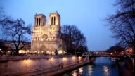 HD Panning: Notre Dame Cathedral at dusk in Paris, France