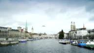 Panning of Zurich Cityscape