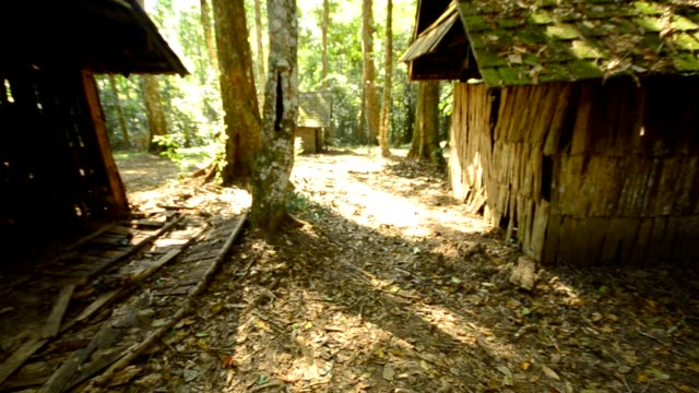 panning : old and ancient houses in tropical forest