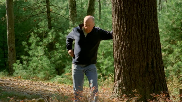 Panning senior man hiking in woods / leaning up against tree and clutching chest / using inhaler