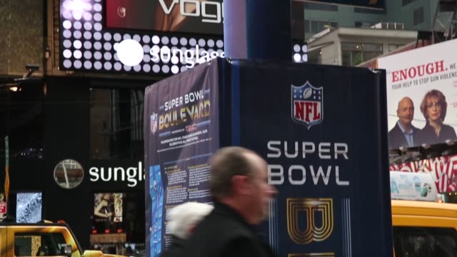 Panning Shot a Super Bowl signpost set up in Times Square Time Square is preparing for the upcoming Super Bowl XLVIII shot in New York on the 31st of...