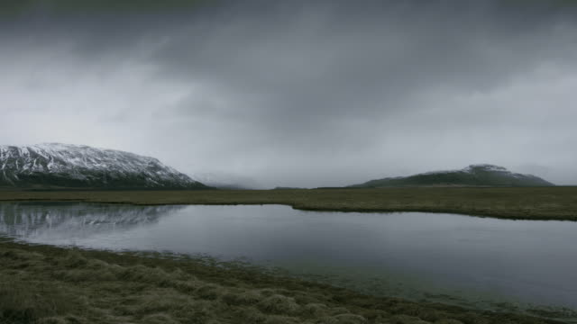 Panning shot across a river and grasslands in south eastern Iceland.