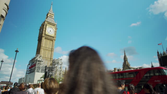 Panning shot across Big Ben and the Houses of Parliament.