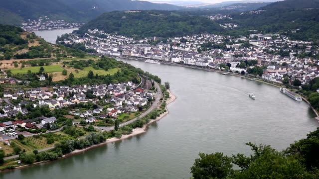 panning shot: aerial Boppard cityscape Germany