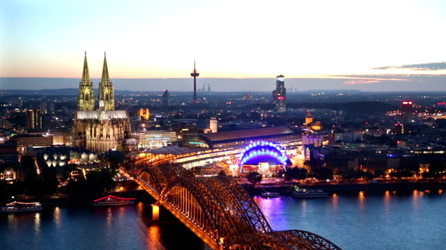 Panning Shot: Aerial Cologne Cathedral Hohenzollern Bridge at dusk Germany