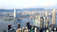 HD Panning shot: Aerial Hong Kong Skyline Cityscape