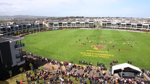 Panning Shot fans watch the Hawthorn Hawks final training session prior to the 2013 AFL Grand Final at Waverley Park