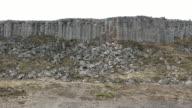 panning shot: Gerduberg basalt columns Cliffs  in Iceland
