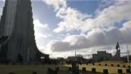 Panning Shot: Hallgrímskirkja Dom Reykjavik Island