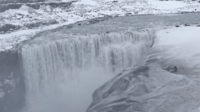 Panning shot: Iceland Dettifoss Waterfall in winter with snow
