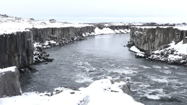 Panning shot: Iceland Selfoss Waterfall in winter with snow