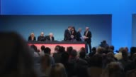 Panning Shot Labour Party conference Ed Balls on stage