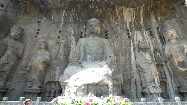 Panning shot: Longmen Grottoes Luayang Henan China