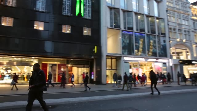 Panning Shot Marks and Spencer shop front on Oxford Street London Members of the public walk past a branch of Marks Spencer on Oxford Street on...