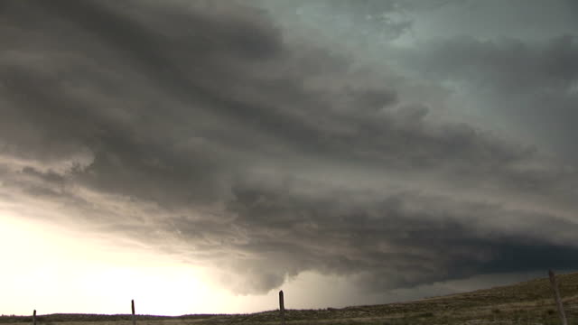Panning shot of a large supercell thunderstorm near La Hunta CO