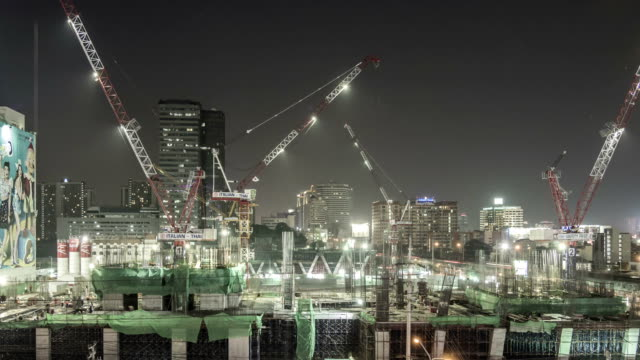 Panning Shot of Construction Site in The City,Time lapse