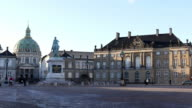 panning shot of Copenhagen Amalienborg  Town square Denmark