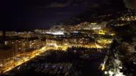 Panning shot of Fontvieille Monaco Monaco French Riviera night