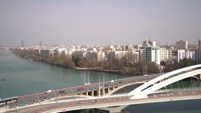 panning shot of Lyon Cityscape with Rhone River