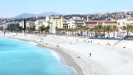 Panning shot of Nice Beach Harbour French Riviera France