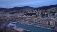 panning shot of Nice Marina Port French Riviera France night