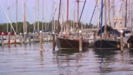 Panning shot of sailboats docked in the marina. Public Gardens are visible in the background.