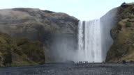 Panning shot of Skogafoss Waterfall, Iceland