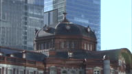 Panning shot of the restored Tokyo Station Marunouchi building interior decorations of the dome