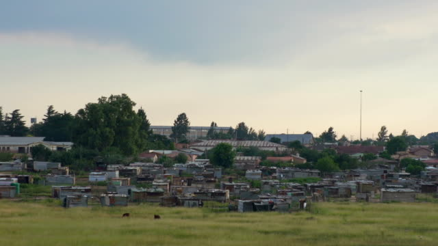 Panning shot of township/ South Africa