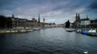 Panning shot of Zurich Cityscape