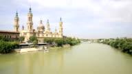 HD: panning shot: Our Lady of the Pillar Basilica Zaragoza