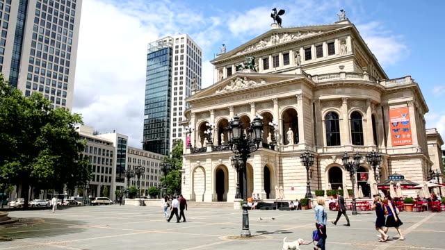 Panning shot: Pedestrian Crowded at Frankfurt Opera Germany