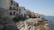 Panning the stunning coastline at the town of Cefalu, Sicily