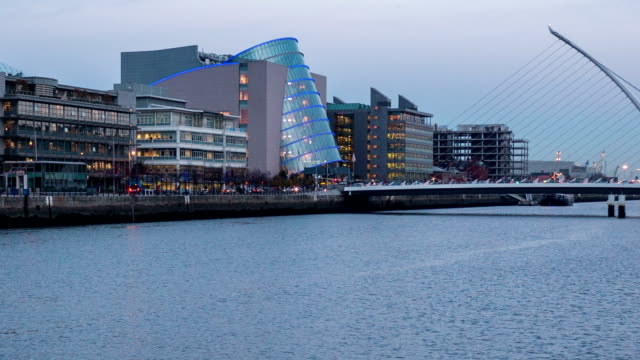 Panning timelapse of Liffey river in Dublin Ireland