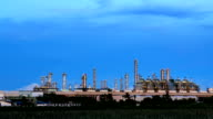 Panning Working of Oil Refinery Plant at Night Zoom In.