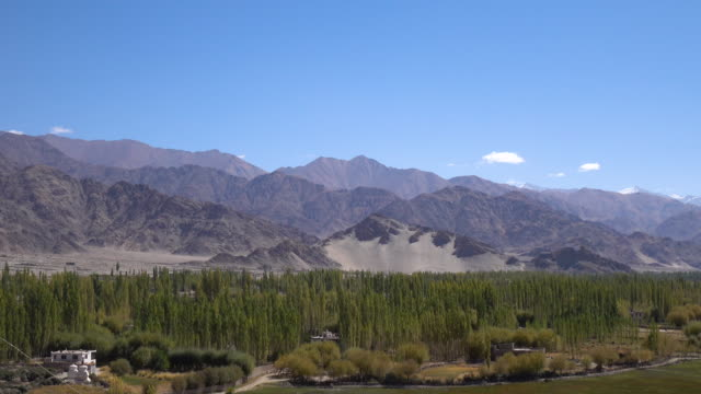 Panorama landscape view looking from Shey Palace in Leh Ladakh, Northern India