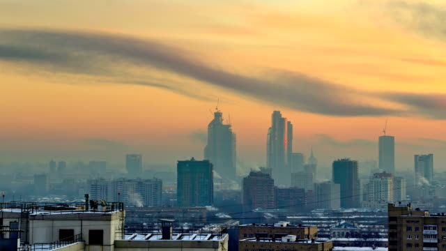 TL Panorama of the Moscow city. 'Moscow-City' building on the background  / Russia, Moscow