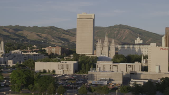 Panorama shot of Salt Lake City downtown.