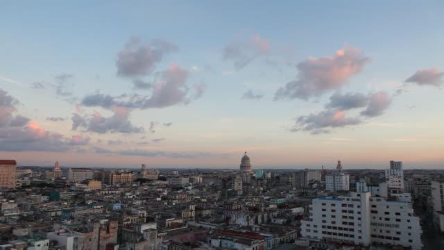 WS, panorama skyline of Havana, Cuba with slow Pan