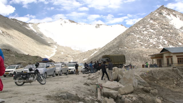 Panorama view of the high altitude peaks covered by snow at the Chang La Pass, Ladakh, India