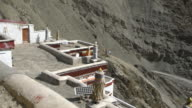 Panorama view of the surrounding mountains from the Rizong Buddhist Monastery in Ladakh, India