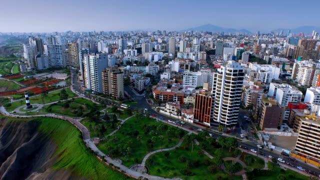 Panoramisch luchtfoto van de stad van de Miraflores in Lima, Peru.