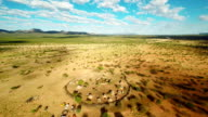 HELI Panoramic Namibian Landscape With The Himba Village