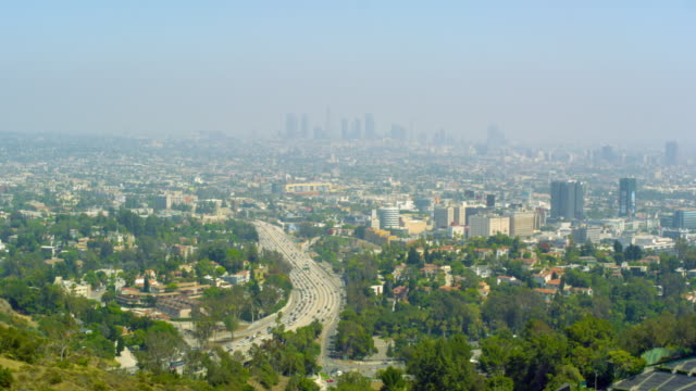 Panoramic shot of Los Angeles from Mulholland Drive