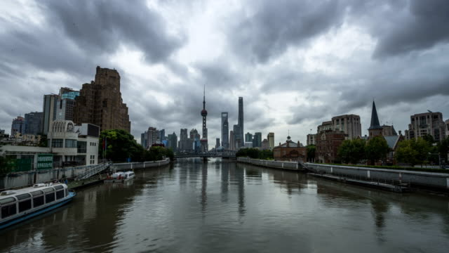 Panoramic skyline of Shanghai timelapse