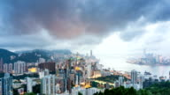 Panoramic skyline,modern buildings of hong kong at victoria harbor.time lapse.